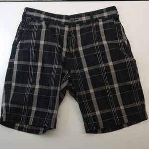 Retrofit Plaid Shorts Black and Grey Size 32